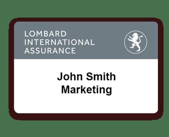 Badge évènement pour la société d'assurance Lombard imprimé avec Badgy