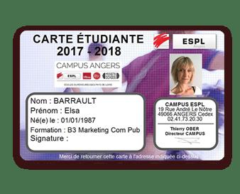 Carte étudiante ESPL Angers imprimé avec Badgy
