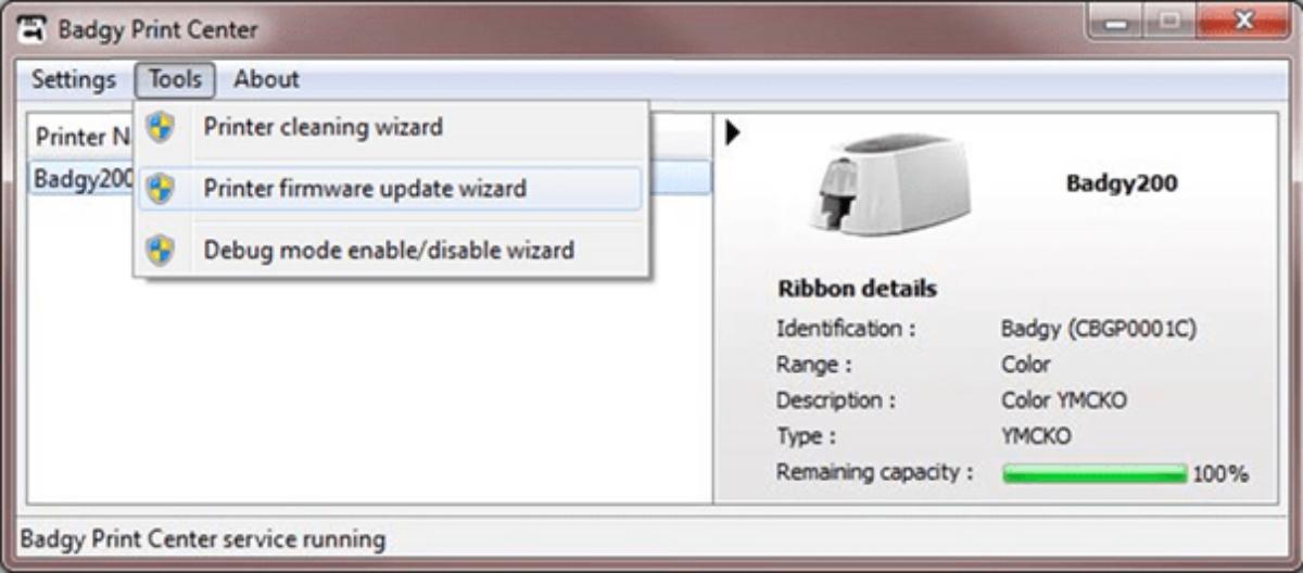 Assistant de mise à jour de Firmware pour les imprimantes Badgy