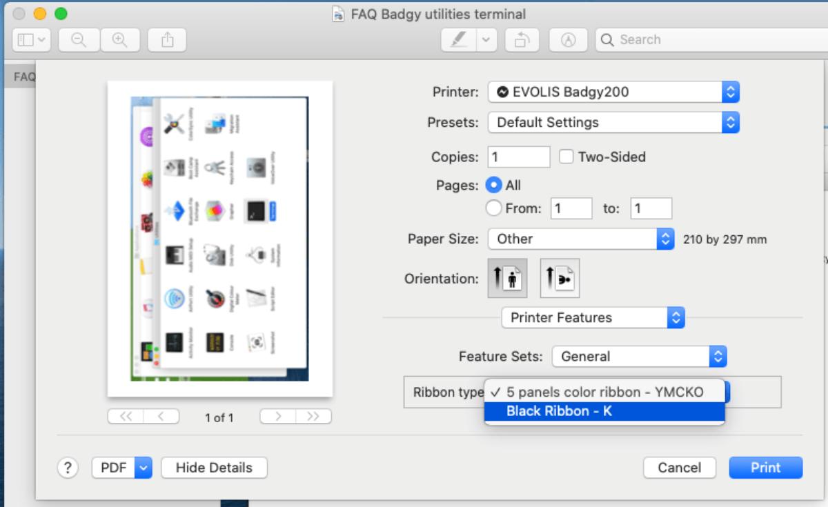 Badgy interface permettant de choisir le type de ruban
