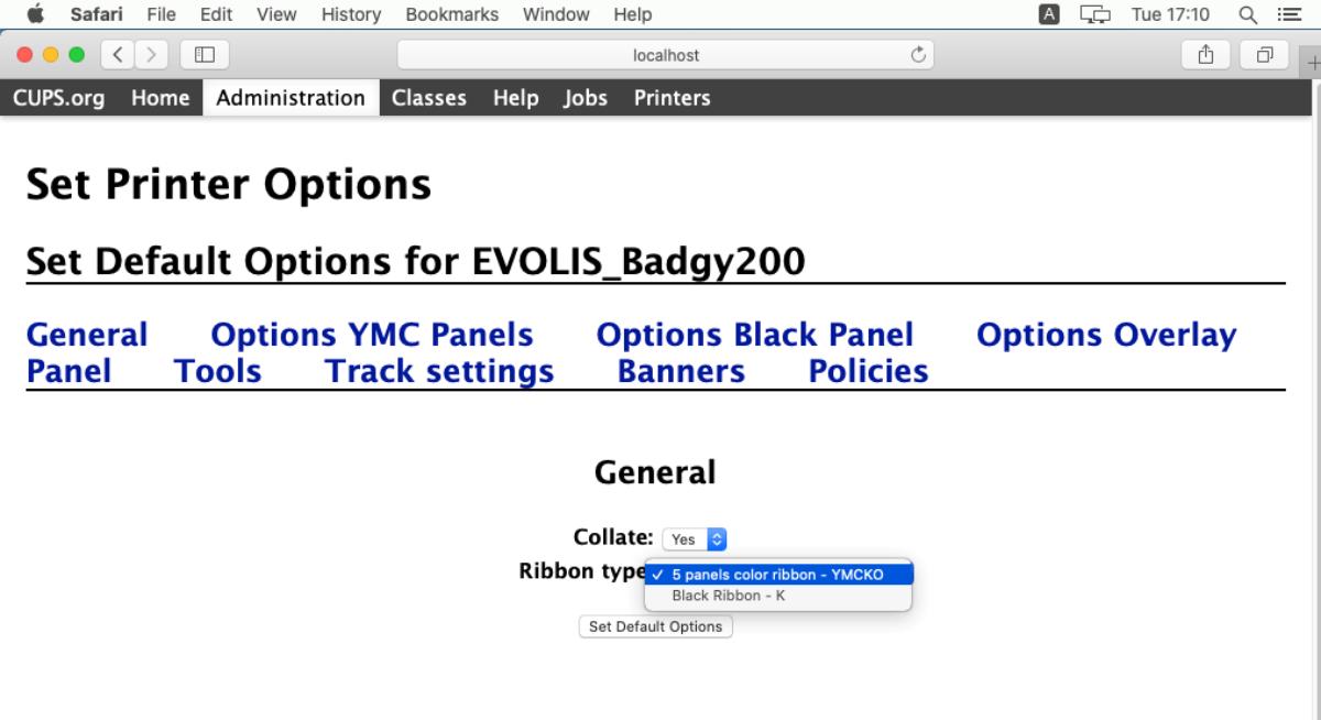 Badgy web cups interface terminal general avec type de ruban
