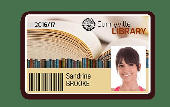 Carte de bibliothèque avec bords blanc imprimé avec l'imprimante Badgy