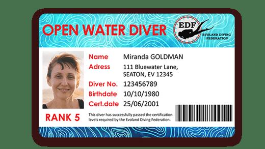 Carte de certification de plongée avec code barre imprimé avec l'imprimante Badgy
