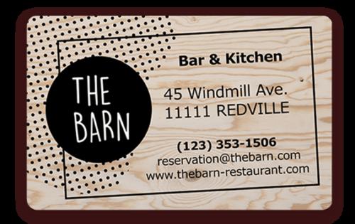 Carte de visite pour les restaurants imprimé avec l'imprimante Badgy