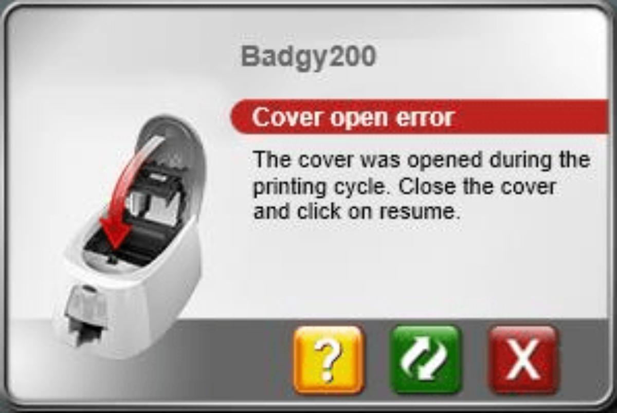 Visuel de la fenêtre contextuelle du système information de l'imprimante Badgy