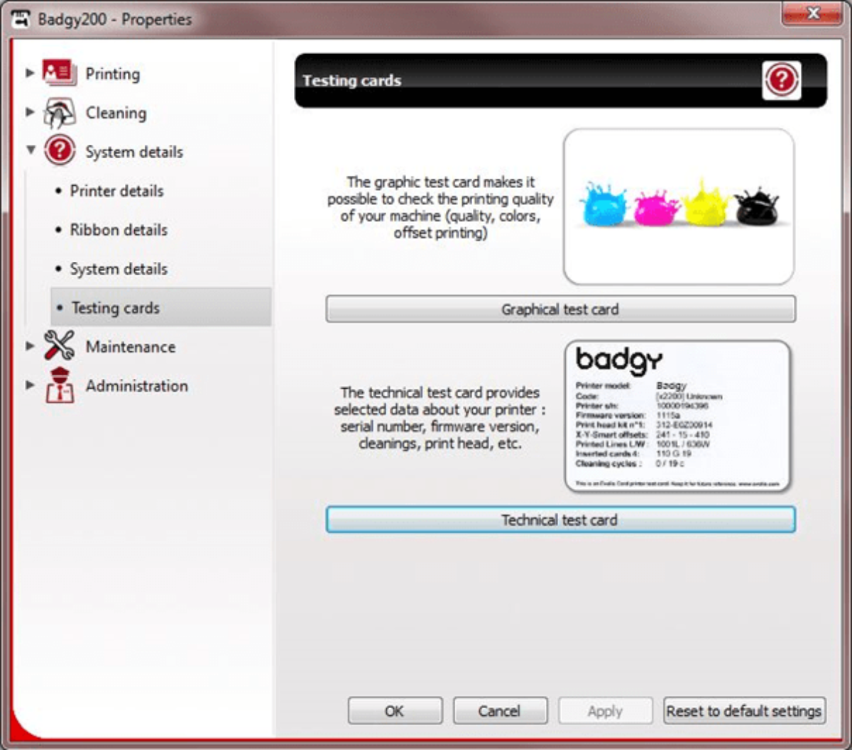 Identification du firmware Badgy via le centre d'impression et les cartes de test technique