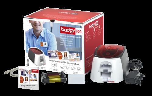 Pack de la solution Badgy100 comprenant : un logiciel, une imprimante, des consommables