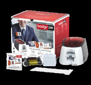 Pack de la solution Badgy200 comprenant : un logiciel, une imprimante, des consommables
